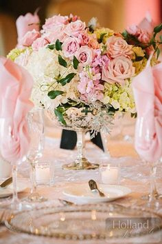 Roses upon roses and hydrangeas! Stunning Wedding centerpiece!