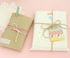 Cute craft, twine and washi tape tag gift wrap Creative Gift Packaging, Creative Gift Wrapping, Paper Packaging, Pretty Packaging, Creative Gifts, Wrapping Ideas, Baby Gift Wrapping, Gift Wraping, Present Wrapping