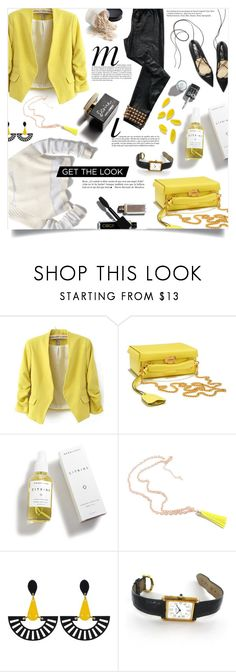 """""""yellow blazer."""" by ezgi-g ❤ liked on Polyvore featuring WithChic, Mark Cross, Rebecca Minkoff, Herbivore, D&G, Toolally, Cartier and Whiteley"""