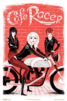 """• 12"""" x 18""""  • 2 color screen print  • Illustration by Alex Pearson  • Printed by Kangaroo Press  Get the 4 poster set and save $20  The Retro Gals Mods and Rockers Series was inspired bythe British cool  kids of the 1960s, their beloved motor bikes of choice, and their legendary  rivalry. Are you a Mod or a Rocker?"""