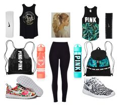 """""""Running with best friend"""" by tatyanasmolin ❤ liked on Polyvore featuring NIKE and Victoria's Secret"""