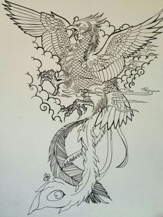 Uncolored crying phoenix warrior in cloudy sky tattoo design - Tattooimages. Japanese Phoenix Tattoo, Japanese Tattoo Art, Japanese Tattoo Designs, Japanese Sleeve Tattoos, Phoenix Chinese, Tattoos Phönix, Fenix Tattoos, Body Art Tattoos, Temporary Tattoos
