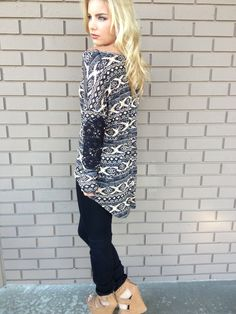 Black & Sand Southwestern Long Sleeve Top - Dainty Hooligan. Need to remember this site!