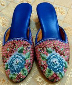 UMI & TSURU: Blue Rose Beaded Peranakan Shoes