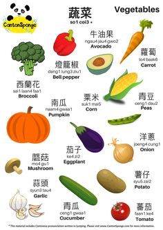 Bilingual (English - Chinese) Vegetables Themed Poster with clear Jyu. Cantonese Language, Chinese Language, Korean Language, Spanish Language, French Language, Mandarin Lessons, Learn Mandarin, Chinese Phrases, Chinese Words