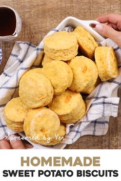 The one and only recipe you need for homemade and healthy sweet potato biscuits. Made with only 6 ingredients these easy to make biscuits are light and flaky. It can be baked right away or frozen for later. Canned Sweet Potato Recipes, Canning Sweet Potatoes, Sweet Recipes, Healthy Bread Recipes, Healthy Baking, Cooking Recipes, Vegetarian Recipes, Sweet Potato Flour, Sweet Potato Biscuits