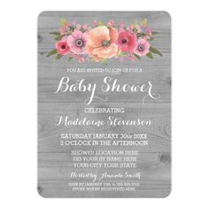 Pink Watercolor Floral Rustic Wood Baby Shower Card