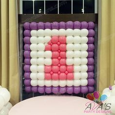 #1 Balloon Wall for 1st Birthday Party. #partywithballoons