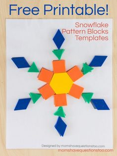 These free printable snowflake pattern block templates will be fun for toddler and preschoolers. They help teach colors, shapes and 1 to 1 correspondence. Winter Activities, Christmas Activities, Stem Activities, Preschool Winter, Christmas Math, Pattern Block Templates, Pattern Blocks, Free Pattern Block Printables, Templates Free