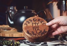 Witchy Tea Storage Box  These handburned storage boxes for your own tea and herbal mixtures is perfect to mix and keep your perfect mixtures for wonderful witchy tea infusions. #commissionlink