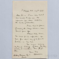 Melville, Herman (1819-1891) Autograph Letter Signed, Pittsfield, Massachusetts, 29 October 1858.   Sale Number 2819T, Lot Number 52   Skinner Auctioneers