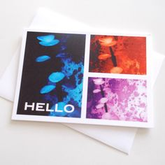 HELLO Blank Greeting Card NEW ITEM by chromeCHARM on Etsy