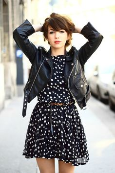Pois dress and leather jacket