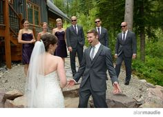 First look groom seeing his bride at the Kicking Horse Mountain Resort, mountain photographer, Golden, B.C., Mountain Wedding, Ski Resort Wedding