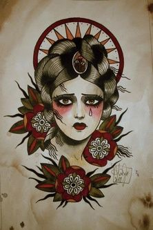 Tattoo Art of Quyen Dinh | ... / Tattooed girl and crow. Traditional tattoo flash by Quyen Dinh