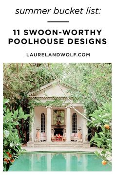 From Greek revivals to converted churches, these masterful pool houses set beside sparkling waters guarantee a cool end to the summer. Sparkling Waters, Outdoor Living Rooms, Summer Design, Summer Bucket, House Made, Pool Houses, Gazebo, Relax, Outdoor Structures