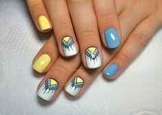Blue and yellow nails, Ethnic nails, Indian nails, Interesting nails, Manicure nail design, Nails with ornament, Original nails, Party nails