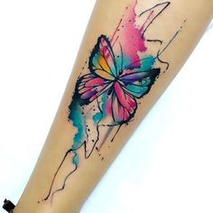 Cute Watercolor Butterfly on Shin Tattoo Idea