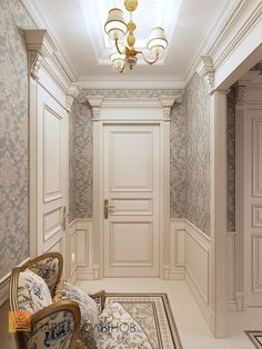 Stunning Long And Narrow Hallway Decorating Ideas. Flur Design, Plafond Design, Home Design, Home Interior Design, Design Shop, Design Design, Narrow Hallway Decorating, Classic Doors, Classic Interior