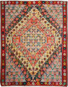 "Multi-colored Persian Kilim 3' 11"" x 5' (ft) http://www.alrug.com/10089"