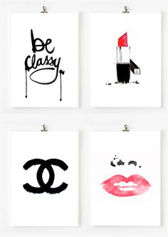 4 original coco chanel logo original damask by theprintsworld, $22.00