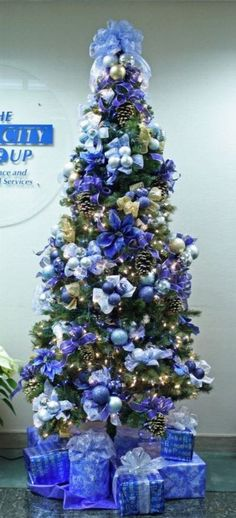 blue silver christmas tree decor colorful christmas tree silver christmas tree holiday tree