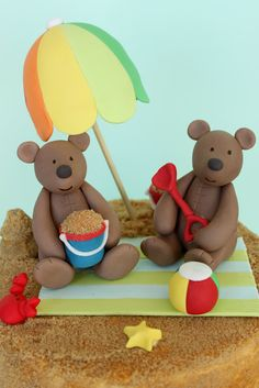 sharon wee - wee love baking - kids' birthday - teddy bears at the beach - cake topper