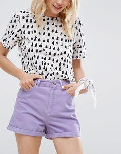 Lilac Denim Shorts