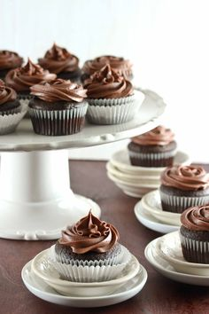 Secret Ingredient Chocolate Cupcakes with Chocolate Sour Cream Frosting by Tales of an Overtime Cook