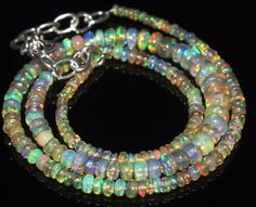 """40 Tcw 2 to 6.5 mm 16"""" Natural Ethiopian Welo Fire Opal Necklace ---64"""