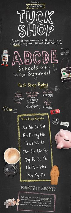 With their distinctive hand-drawn look, chalkboard fonts bring to mind the simple lines of children's printing, vintage store signs.. #affiliate