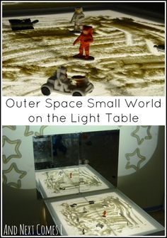 Outer space small world on the light table with moon dust and projected stars from And Next Comes L