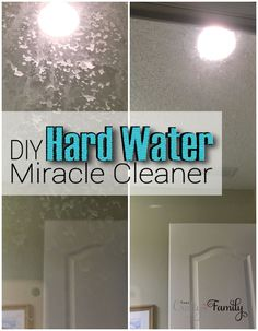 Homemade Cleaner for the hard water stains on shower doors; consists of lemon peels, lemon juice and vinegar soaked for 2 weeks then straining the peels to a  separate spray bottle.  Pretreat with baking soda for tough stains.