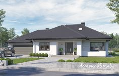 Project of a one-storey house with a garage. Modern Bungalow House Plans, Bungalow Floor Plans, Modern Family House, Contemporary House Plans, Modern House Design, House Plans Mansion, My House Plans, One Storey House, Dream House Exterior