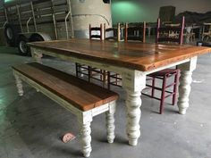8.5 foot by 43 antique heart pine table by WellsWorksFurniture