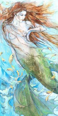 Christina P. Wyatt Water Music Mermaid painting on canvas.