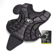 "Easton Natural Chest Protector Intermediate - Black by Easton. $31.45. Easton Natural Series Intermediate Catcher's Chest Protector Hockey inspired chest protector has a form fitting design and uses lightweight tech foam to absorb and deaden the impact of a ball thus reducing the rebound. Removable groin protector. Intermediate Size: 15"" (ages 12 - 15). Colors: Black, Dark Green, Navy, Royal, Scarlet, Silver."