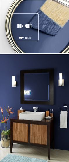 master bedroom paint colors Bring a sense of elegance and drama into your home decor with the newest Color of the Month: BEHR Paint in Bon Nuit. This dark blue paint color ev