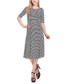 Black & White Stripe Midi Dress | zulily