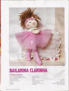 Bailarina Clarinha em Tecido Com Molde.