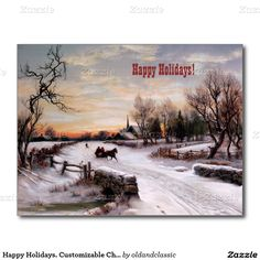 Happy Holidays. Business / Corporate Fine Art Customizable Christmas Flat Greeting Cards / Postcards with a Winter Christmas Scene. Lithograph published by Raphael Tuck & Sons , circa 1890. Artist W.C.Bauer. Matching cards, postage stamps and other products available in the Christmas & New Year / Fine Art Category of the oldandclassic store at zazzle.com