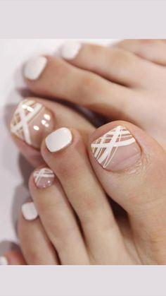 Pedicure Nail Designs, Pedicure Nail Art, Toe Nail Designs, White Pedicure, Wedding Toe Nails, Bride Nails, Wedding Pedicure, Toe Nail Color, Toe Nail Art