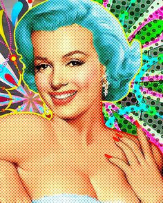 "Saatchi Art Artist: Everett Day; digital painting 2013 New Media ""Marilyn Sparkles Blu"""
