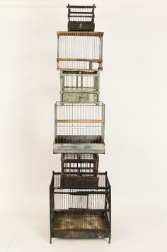 collection of antique bird cages