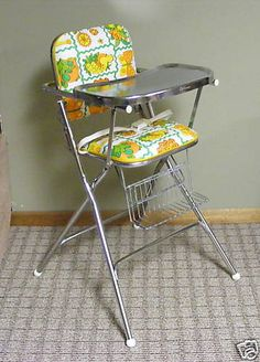 1980 high chair. Vintage High Chairs, Baby Fabric, Baby Carriage, Prams, Ol Days, Good Ol, Folding Chair, Toys For Girls, Retro