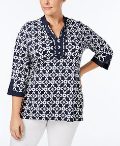 1f247058b21 Charter Club Plus Size Printed Tunic