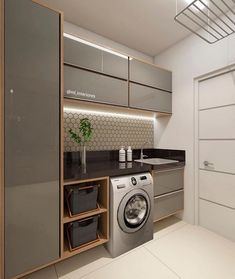 functional and stylish laundry room design ideas to inspire 41 Modern Laundry Rooms, Laundry Room Layouts, Laundry Room Cabinets, Laundry Room Organization, Storage Organization, Küchen Design, House Design, Interior Design, Design Ideas