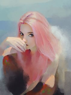 by CLOWN G.X.0 Arte Digital, Female Art, Art Reference, Female Reference, Pink Hair Anime, Girl With Pink Hair, Blurred Lines, Character Illustration, Illustration Girl