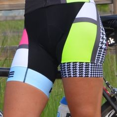 Woman wearing Panache Mondrian Cycling Bib Shorts