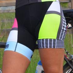 Woman wearing Panache Mondrian Cycling Bib Shorts